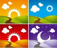 Night-day. Beautiful 4 night-day illustrations Stock Photos