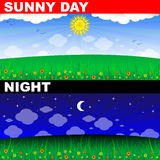 Night and day. Sunny day and dark night Stock Illustration