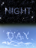 Night and day. An illustration of day and night. The words are written in stars and clouds stock illustration
