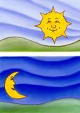 Night and day. Smiling sun and moon over a painted background. Hand drawn illustration Royalty Free Stock Images