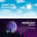 Night and day banner set. Night and day horizontal banner set with sun and moon in sky isolated vector illustration Royalty Free Stock Image