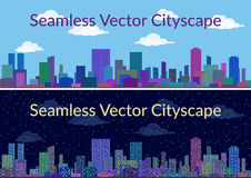 Night and Day City Landscape. Horizontal Seamless Urban Background, City Landscape, Set of Night and Day Cityscapes with Skyscrapers, Under Blue or Starry Sky Stock Image