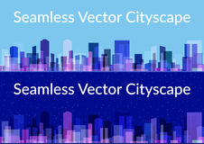 Night and Day City, Seamless. Horizontal Seamless Landscape, Urban Background, Abstract Colorful City, Set of Night and Day Cityscapes with Skyscrapers Under Royalty Free Stock Photos