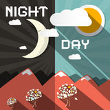 Night and Day Vector Illustration Royalty Free Stock Photo