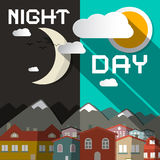 Night and Day Vector Illustration Stock Photography