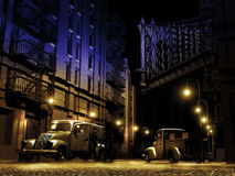Night deals. Night scene in old Brooklyn, close to the Manhattan bridge, with two men making a deal near their vehicles Royalty Free Stock Image