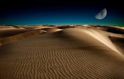 Night in desert. Night in the desert sand dunes Royalty Free Stock Photo