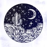Night desert of America with cacti. Outdoors, travel freedom of nature. Prairie landscape. stock illustration