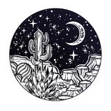 Night desert of America with cacti. Outdoors, travel freedom of nature. Prairie landscape. Night desert of America with cacti. Great outdoors, travel freedom royalty free illustration