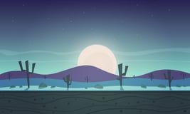 Night desert cartoon game background Royalty Free Stock Image