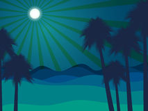 Night in the desert. Desert landscape. Palm trees on the background of the desert night. Stock Photo