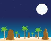 Night in desert. The Moon night in wild desert.Vector illustration Royalty Free Stock Images