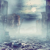 Night destroyed city. Ruins of a city at the night. 3d illustration concept Royalty Free Stock Photos