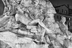 Night detail of the Fountain of Four Rivers in Rome, Italy Royalty Free Stock Photos