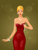 Night & diamonds (blonde). Beautiful blonde in red dress and diamond necklace holding goblet of champagne Stock Images