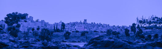 Night diorama scene recreates the city of Badajoz Royalty Free Stock Images