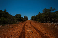 Night dirt road in the mountains Royalty Free Stock Photo
