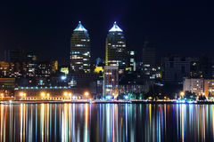 Night in Dnipropetrovsk. Skyscrapers and dark river Stock Photo