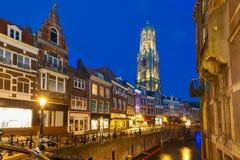 Night Dom Tower and bridge, Utrecht, Netherlands Royalty Free Stock Photos