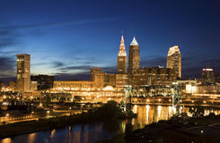 Night in downtown Cleveland Royalty Free Stock Images