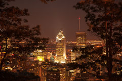 Night Downtown Montreal Stock Images