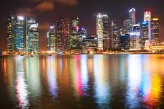 Night Downtown Singapore Royalty Free Stock Photos