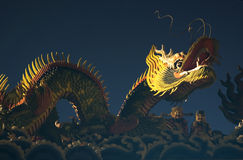 Night Dragon. Temple Decorative Dragon at roadside temple Stock Photo