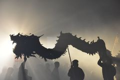 Night of dragon bombing. Royalty Free Stock Photo