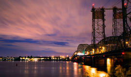 Night Drawbridge over the Columbia River I-5 Interstate Stock Images
