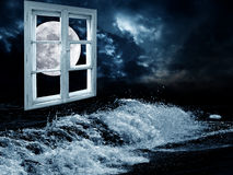 Night dream. Sea landscapes and window with full moon view Royalty Free Stock Photo