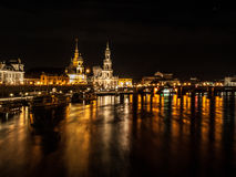 Night at Dresden. One of the largest german rivers flows thru historical centre of Dresden Stock Photography