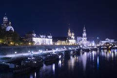 Night in Dresden with view on the city stock image