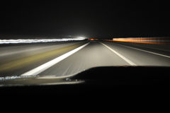 Night drive from car view. Night drive on highway from car view royalty free stock images