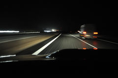 Night drive from car view. Night drive on highway from car view stock photography