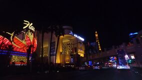 Night Drive on Las Vegas Strip, Nevada USA. Traffic and View of Neon Lights