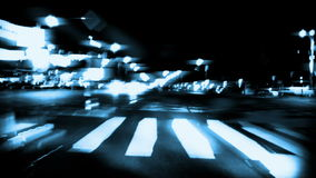 Night drive time lapse, blue tint, stock footage