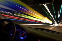 Night Driving. Driving a car 130 mph. What my life feels like Royalty Free Stock Photography