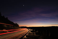Night Driving. Truck Driving into the sunset Royalty Free Stock Images