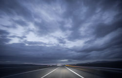 Night driving, blurred shot Royalty Free Stock Photo