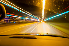 Night driving stock photo