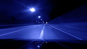 Night driving urban city road stock video footage