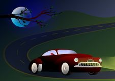 Night driving. Vector illustration of muscle car on the road at night Stock Images
