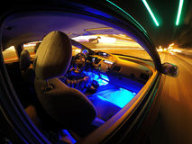 Night driving. View from outside of speeding car at night royalty free stock images