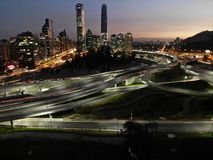 Night drone city picture. Long exposure with drone in a city during night royalty free stock image