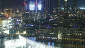Night dubai famous fountain 4k time lapse stock footage