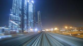 Night Dubai metro train stock video footage