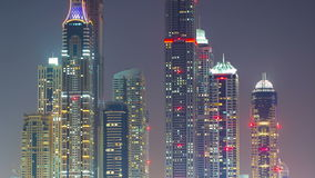 Night dubai panoramic time lapse Royalty Free Stock Images