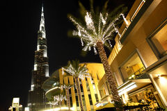 Night Dubai street, palms with decor lamps Stock Photos