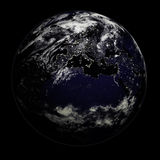 Night Earth - Europe/Asia/Afri. 3D render of planet Earth - night side with city lights - Europe, Asia and Africa Stock Photo