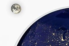 Night Earth and moon Stock Photos
